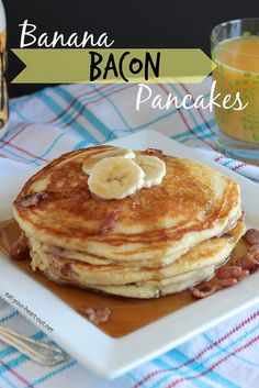 Banana Bacon Pancakes: Buttermilk pancakes with slightly-caramelized slices of bananas and crumbled bacon. Top with butter and maple syrup for a savory-sweet brunch recipe that is pure perfection.