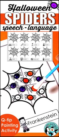 Are you doing a spider theme in speech therapy? These spider Q-tip painting sheets are easy to prep, engaging, and elicit lots of articulation trials! Perfect for Halloween speech & language therapy!