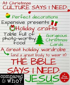 What you really need this Christmas from Compared to Who?