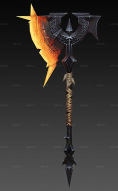 Hammer, weapon design | lava, Red fire, hot | Battle axe, orc, ogre | fighting, Fantasy weapons