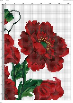 This Pin was discovered by Zdz Cross Stitch Borders, Cross Stitch Rose, Cross Stitch Flowers, Cross Stitch Charts, Cross Stitch Designs, Cross Stitching, Cross Stitch Patterns, Seed Bead Flowers, Beaded Flowers