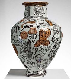 """Grayson Perry-The Frivolous Now-The Tomb of the Unknown Craftsman-British Museum """"the ways artifice could be deployed to make the innocent or honest pot have a purpose and mean something"""" Ceramic Clay, Ceramic Pottery, Pottery Art, Glazed Ceramic, Grayson Perry Art, Wallpaper Magazine, Contemporary Ceramics, Contemporary Art, Ceramic Artists"""
