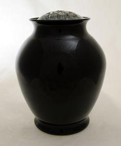Elegant Cambridge Glass Black Amethyst Vase with Flower Frog