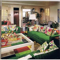 Mary Tyler Moore's living room isn the '70's. She stitched all of the couch back cushions, as well as the throw pillows.