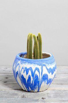 Vintage Blue Marbled Pottery Planter