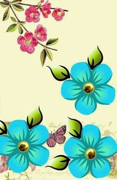 Flores azul claro Flowery Wallpaper, Love Wallpaper, Wallpaper Backgrounds, Rock Flowers, Blue Flowers, Zebras, Star Painting, Turquoise Art, Country Paintings