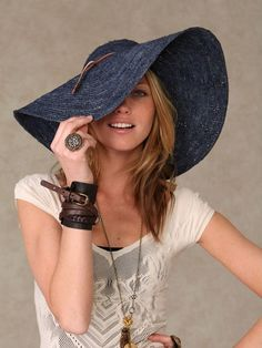 The elegant dress hats and fedoras lend in a sophisticated look when worn for day functions or at art events. Read on for more ideas on women's hats, buy them or gift to your friends. Turbans, Denim Hat, Blue Denim, Floppy Sun Hats, Love Hat, Fashion Night, Women's Fashion, Dress Hats, Summer Hats