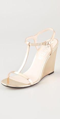 KORS Michael Kors Ruby T Strap Wedge Sandals | SHOPBOP  $225.00