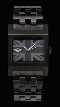 MINI Cooper black Jack Watch with wing logo. Perfect gift for him