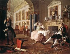 "William Hogarth's ""Morning after the Wedding,"" part of his Marriage a la Mode, an attack on fashionable marriage of convenience."