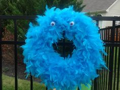 Monster Bash -  Furry Monster Wreath Monster Wreath, Parents Room, Scary Monsters, Monster Party, Hanukkah, Wreaths, Home Decor, Decoration Home, Door Wreaths