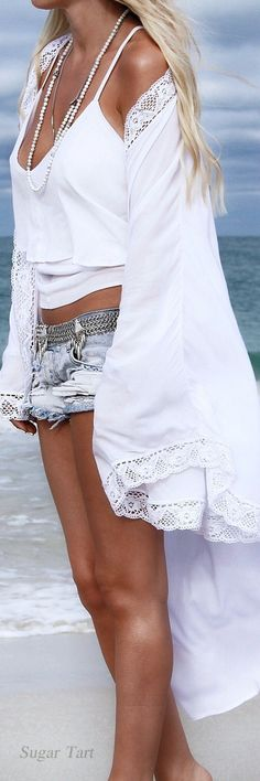 Sexy Boho Chic crochet embellished tunic swim suit cover-up for summer.  For MORE Bohemian Hippie Fashion FOLLOW https://www.pinterest.com/happygolicky/the-best-boho-chic-fashion-bohemian-jewelry-gypsy-/ now!