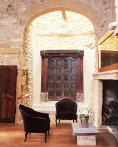 Loving the charming, old doors used as decor elements these days. These well-traveled doors reside in a Sydney, Australia home, but origin. Old Doors, Windows And Doors, Dark Doors, Interior Exterior, Interior Design, French Exterior, Stone Exterior, Modern Interior, Architecture Design