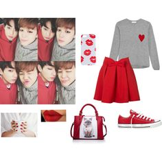 Gray, Red, Jimin, And Jungkook by yoonmin2725 on Polyvore featuring Chinti and Parker and Converse
