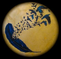 Raven Magic Drum: Painted Native American Style Shaman's Drum