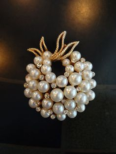 Trifari faux pearl and rhinestone