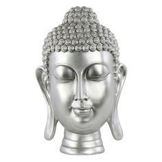 Urban Trends Collection Resin Buddha Head Sculpture with Bun - Gloss Silver - 33427
