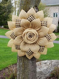 Large Beige Natural Black Daisy Rose (Sara Flower) Poly Burlap Flower Wreath, Modern Farmhouse Wreat