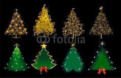 Vector: Set alberi di Natale oro e verde