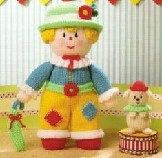 Jean Greenhowe's Dolly Mixtures Jean Greenhowe, Dolly Mixture, Sock Monkeys, Novelty Toys, Dog Coats, Knit Or Crochet, Doll Clothes, Bears, Dolls