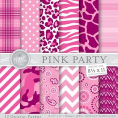"PINK PARTY Prints Digital Paper 8 1/2"" x 11"" Patterns Print, Instant Download, Paper Pack Girl Pattern Scrapbook Print"