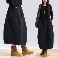 Buy Latest Fashion Elastic Waist Baggy Skirt Loose Quilted Cotton Skirt in Skirts online shop, Morimiss offers Skirts to make you feel comfortable Winter Skirt, Plus Size Beauty, Japanese Outfits, Cotton Skirt, Linen Dresses, Business Fashion, Plus Size Fashion, Spring Fashion, Casual Outfits
