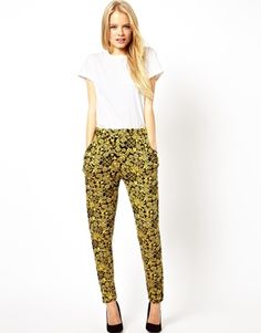 Image 1 ofASOS Peg Trousers in Gold Oriental Print