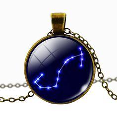 Scorpio Blue Cabochon Glass Constellation Necklace