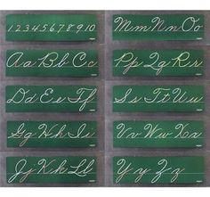Old fashioned school cursive