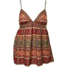 Ibiza Stud Cami Top ($43) ❤ liked on Polyvore featuring tops, shirts, tank tops, dresses, cami, cami shirt, cami tank tops, print tank top, camisole tops and pattern tank top