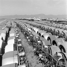 Engines removed from World War II bombers at Kingman Airport in Arizona