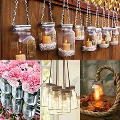 Awesome DIY mason jar ideas... You could use green dried split peas or beans to hold candles