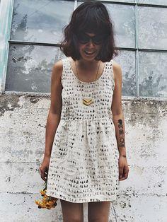 Cross Back Linen Dress in Catacomb Print, Handmade Simple White Dress, Geometric Print, Women's Clothing by localparitygoods on Etsy https://www.etsy.com/listing/199872137/cross-back-linen-dress-in-catacomb-print