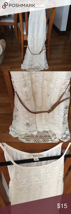Lace Dress 👗 👢 Off-white, sleeveless lace dress. High-rise neckline. Beautiful detail with brown belt included to bring in the waist. Never worn! ✨✨ Rewind Dresses