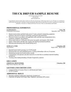 truck driver resume sample - Sample Resume Truck Driver