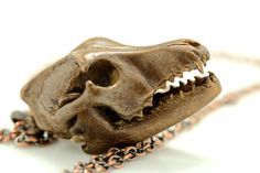 Wolf Skull cast in bronze with articulated jaw Blue by billyblue22, $75.00