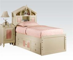 Doll House Cream Wood Twin Bed