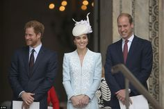 The royals lined up on the steps of the cathedral after attending a service to honour the ...