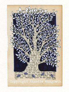 Tree Original ink illustration on vintage book by carambatack