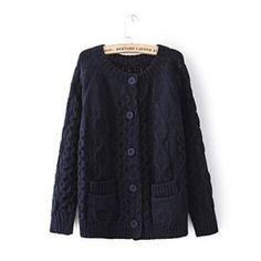 Woman's Braid Knit Cardigan with Pockets 080873