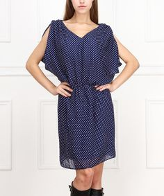 Look at this Navy & White Dot Blouson Dress on #zulily today!