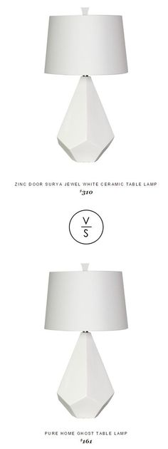 @zincdoor Surya Jewel White Ceramic Table Lamp $310 Vs @purehome Ghost Table Lamp $161