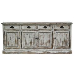 Crafted of reclaimed, distressed pine in an antique white finish. topped by a lead-free lacquer sealant. Every item in this collection is unique and color, distress & carvings will vary from piece to piece. Natural distress cracks & imperfections in the wood are part of the character that enhances the one-of-a kind beauty of each piece.