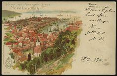 """Hordaland Bergen. Meget uvanlig, tegnet motiv med tekst """"Hamburg-Amerika Linie Nordlandfahrt"""" lagd i Hamburg  Postgått 1901, til Leipzig"""