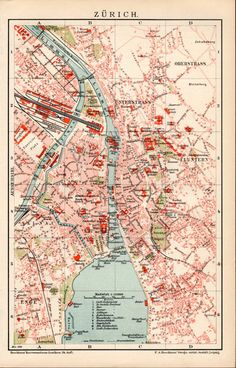 1898 Zürich City Map Antique Print Vintage by Craftissimo on Etsy