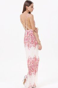 White V Neck Criss Cross Back Floral Maxi Dress
