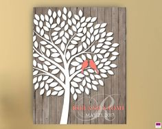 Wedding Guest book Alternative Tree with birds, Canvas or Poster, Wedding Tree to sign, Tree Guestbook,Signature Tree Canvas,Tree guest book by FUNtasticDesign on Etsy