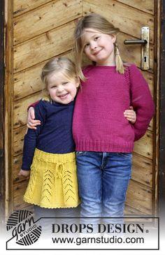 Children - Free knitting patterns and crochet patterns by DROPS Design Baby Knitting Patterns, Jumper Patterns, Knitting For Kids, Baby Patterns, Free Knitting, Crochet Patterns, Drops Design, Skirt Pattern Free, Free Pattern
