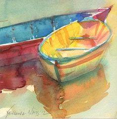 Pequeña Acuarela Original barco amarillo por YevgeniaWatts en Etsy
