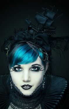 Black Ship Hat Blue Hair Ruffle